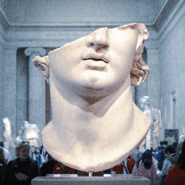 Bust statue in gallery